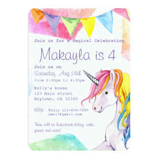 Convite do aniversário do unicórnio do arco-íris