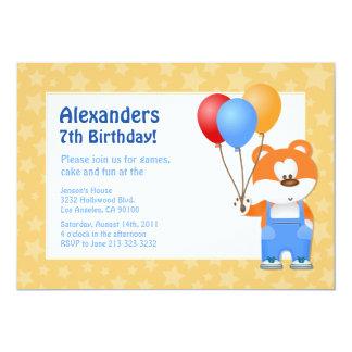 Convite do aniversário do urso de ursinho dos convite 12.7 x 17.78cm