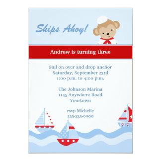 Convite do aniversário do veleiro e do macaco
