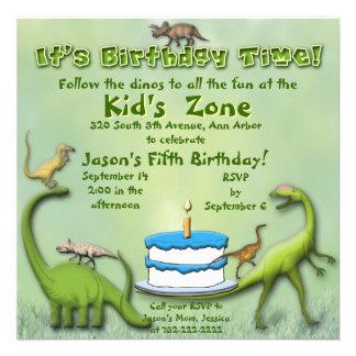 Convite do aniversário dos amigos do dinossauro