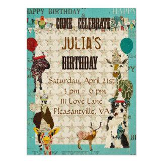 Convite do aniversário dos animais de partido