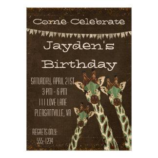 Convite do aniversário dos girafas da cerceta do
