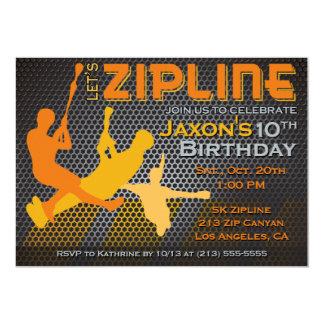 Convite do aniversário dos meninos de Ziplining -