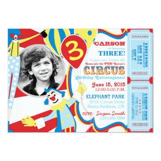 Convite do aniversário dos palhaços de circo do convite 12.7 x 17.78cm
