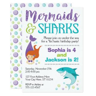 Convite do aniversário dos tubarões e das sereias