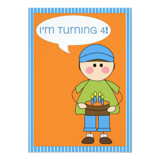convite do aniversário (menino que gira 4)