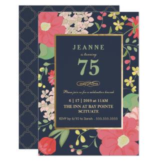 Convite do aniversário - ouro, floral elegante