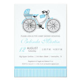 Convite do azul do chá de fraldas da bicicleta