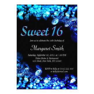Convite do azul do diamante do doce 16