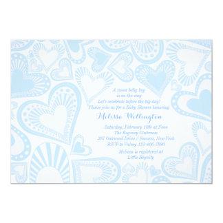 Convite do azul do montagem do coração convite 12.7 x 17.78cm