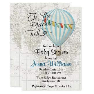 Convite do balão de ar quente do chá do bebé