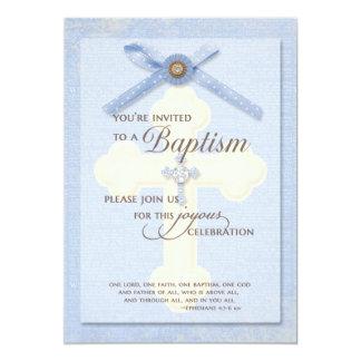 Convite do baptismo - azul com cruz & ribbo