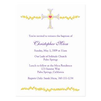 Convite do baptismo, cruz com coração