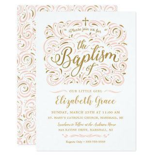 Convite do baptismo da menina da folha de ouro do