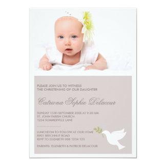 Convite do baptismo da pomba do branco & da foto convite 12.7 x 17.78cm