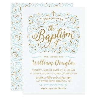 Convite do baptismo do menino da folha de ouro do