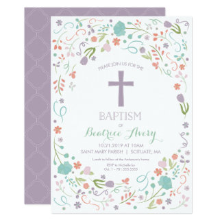 Convite do baptismo - personalize, flores, cruz