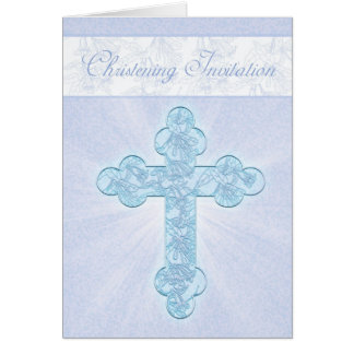 Convite do batismo com cruz azul cartao