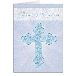 Convite do batismo com cruz azul cartão comemorativo