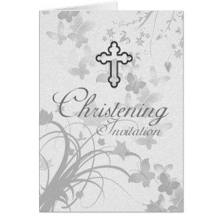 Convite do batismo com manteiga transversal e cartão comemorativo