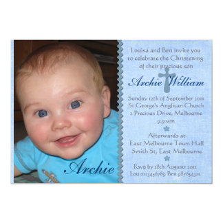 Convite do batismo da foto dos bebés - archie