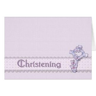 Convite do batismo da lavanda cartão de nota