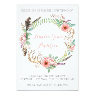 Convite do batismo das meninas - floral