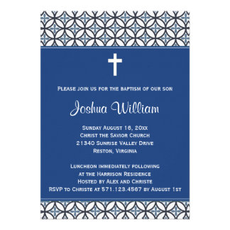 Convite do batismo do baptismo dos azuis marinhos