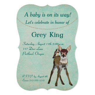 Convite do bebê da jovem corça & da coruja