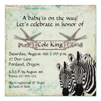 Convite do bebê das zebras do vintage