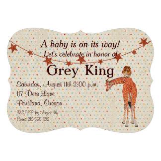 Convite do bebê de Polkadot do girafa da coruja