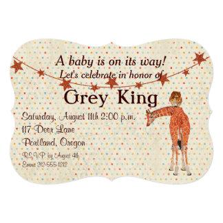 Convite do bebê de Polkadot do girafa & da coruja