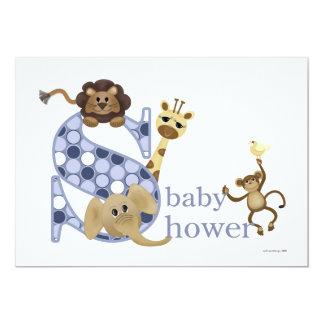 Convite do bebê do safari no azul