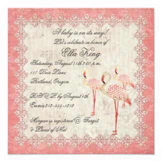 Convite do bebê dos flamingos do rosa do rosa do