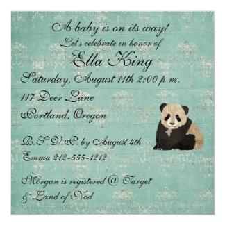 Convite do bebê dos ursos de panda convite quadrado 13.35 x 13.35cm