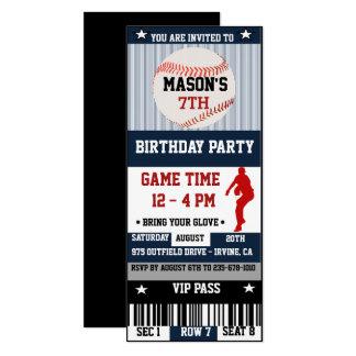 Convite do bilhete do aniversário do basebol