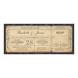 Convite do bilhete do casamento vintage com RSVP