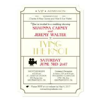 Convite do bilhete do casamento vintage/tema do