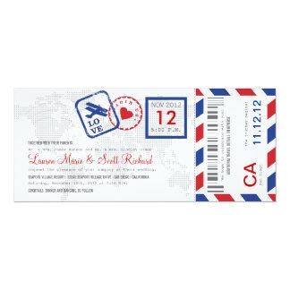 Convite do bilhete do correio aéreo da passagem de convite 10.16 x 23.49cm