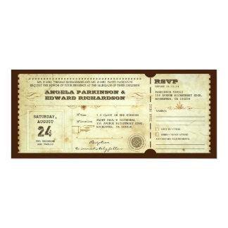 convite do bilhete do vintage do casamento com