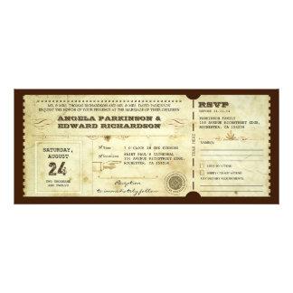 convite do bilhete do vintage do casamento com des