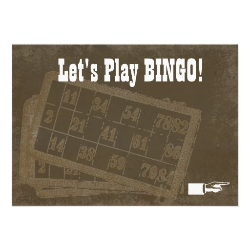 Convite do Bingo do vintage