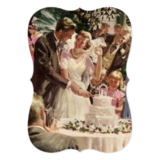 Convite do bolo do corte dos Newlyweds do noivo da