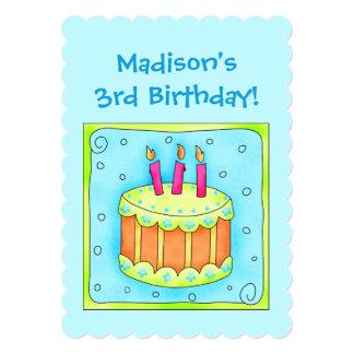 Convite do bolo do partido de aniversário de 3 convite 12.7 x 17.78cm