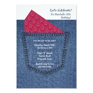 Convite do bolso de jeans convite 12.7 x 17.78cm