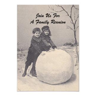 Convite do boneco de neve da reunião de família