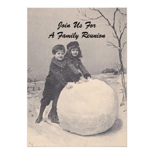 Convite do boneco de neve da reunião de família da