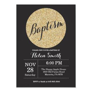 Convite do brilho do ouro do preto do batismo do