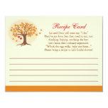 Convite do cartão da receita da árvore da queda