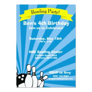 Convite do cartão de aniversário da boliche